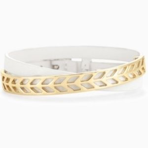 :: Stella & Dot White+Gold Leather Wrap Bracelet